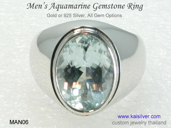 men's gemstone ring aquamarine