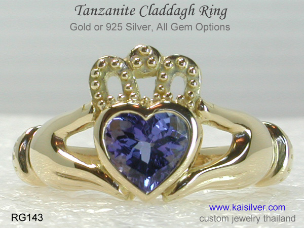 engagement ring claddagh with gemstone