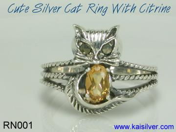 cat ring with gemstone citrine
