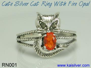 fire opal ring cat from kaisilver