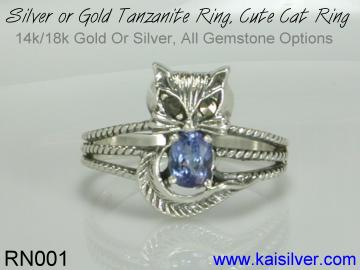 cat ring with tanzanite gemstone
