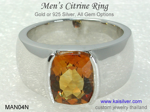 white gold men's rings with gemstones