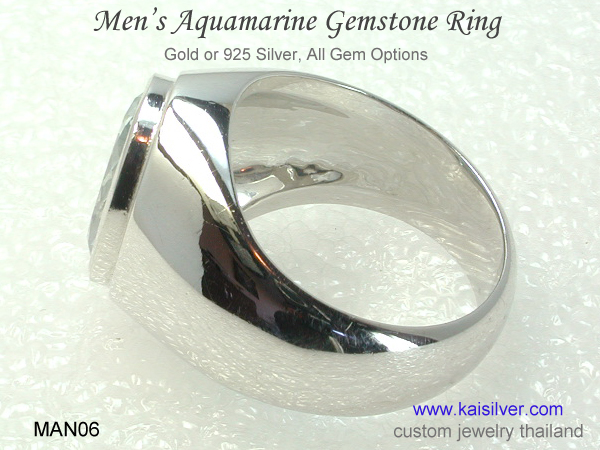 aquamarine men's ring gold silver