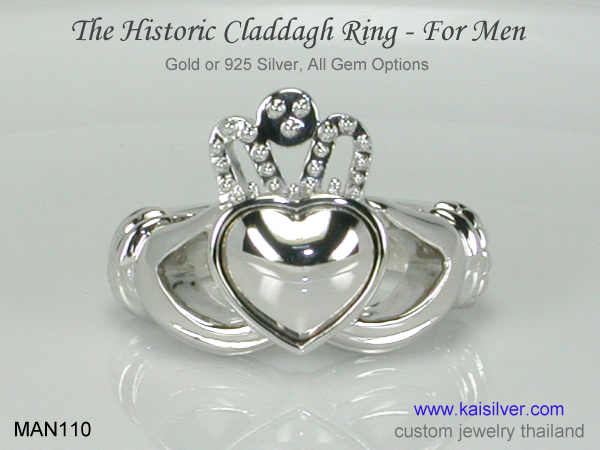 men's claddagh ring with or without gemstone