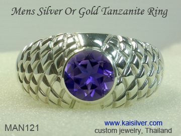 silver tanzanite ring for men