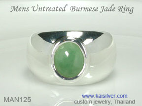 mens green jade gemstone ring