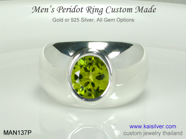 peridot mens ring green stone