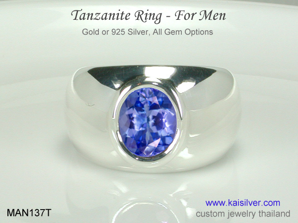 men's white gold ring with tanzanite