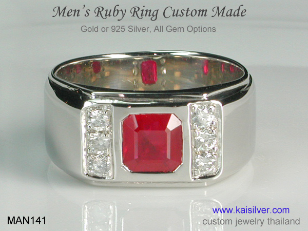 mens ruby and diamond band ring
