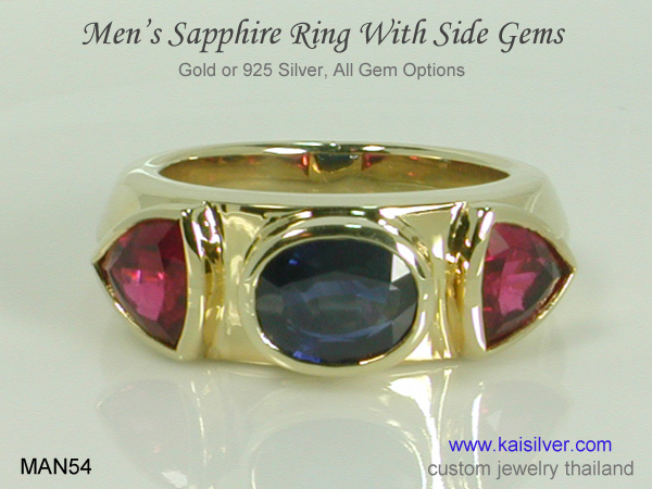 men's ring with blue sapphire