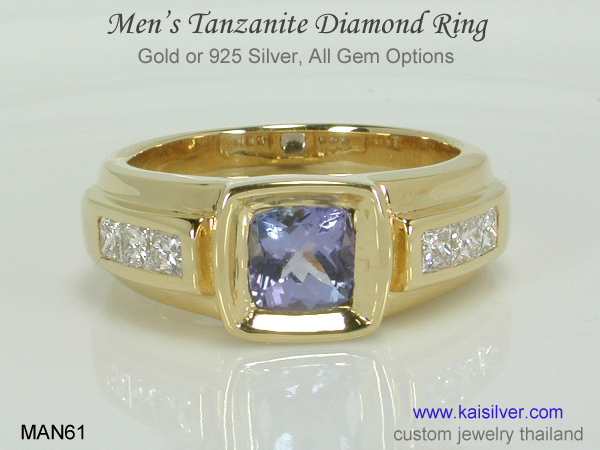 men's tanzanite diamond ring gold silver