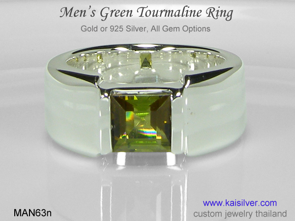 square gemstone ring for men