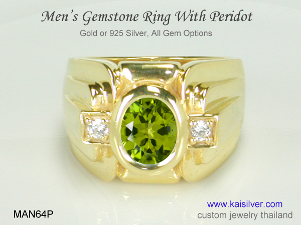 peridot gold ring for men