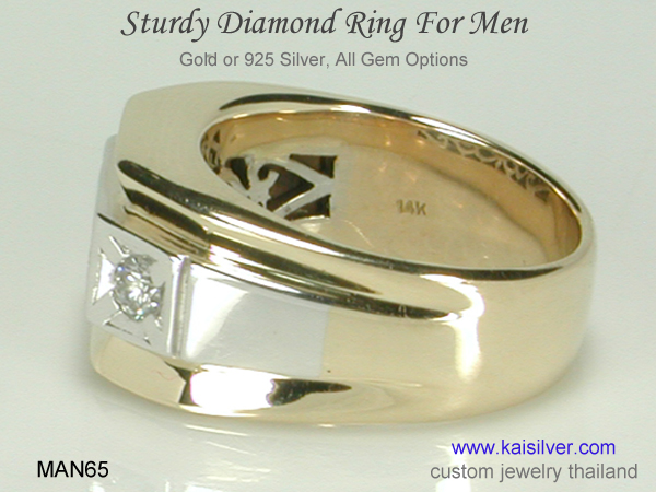 men's diamond ring gold silver