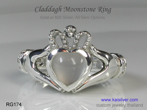 moonstone ring claddagh