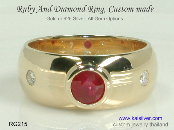 ruby gold or sterling silver ring